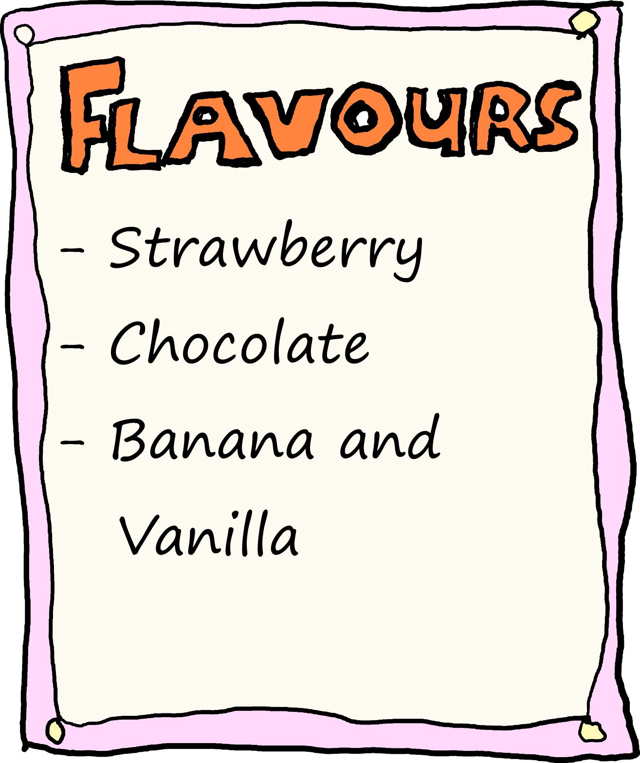 Milkshake Flavours: Strawberry, Chocolate, Banana and Vanilla.